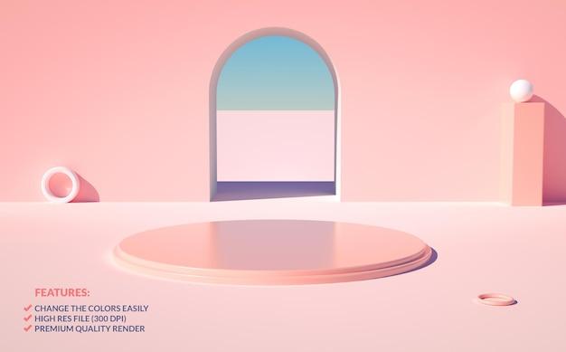 3d 렌더링의 우아한 핑크 연단 장면