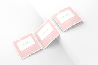 Elegant pink trifold brochure mockup