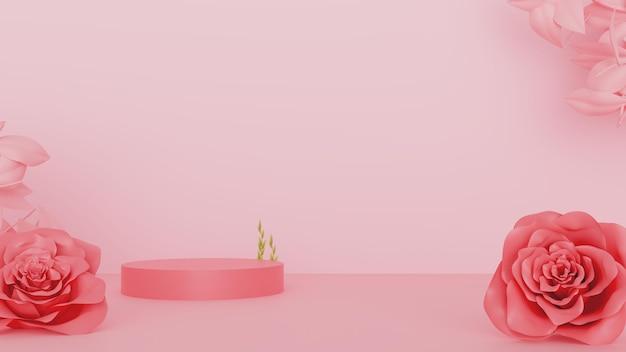 Элегантный подиум с цветами для товарной рекламы