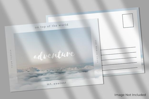 Elegant postcard mockup with shadow