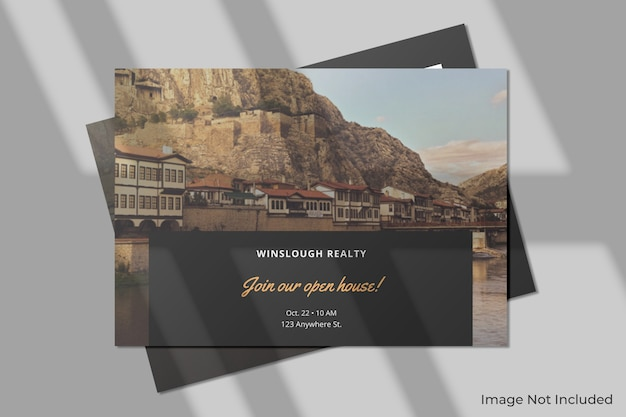 Elegant postcard mockup with shadow