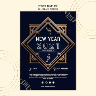 Elegant poster template for new years party