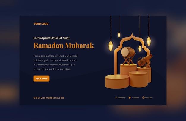 Elegant ramadan mubarak decoration gold arabic lantern festival