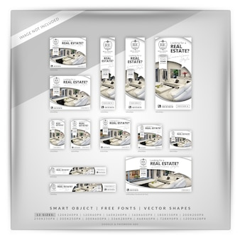 Elegant real estate google banner set