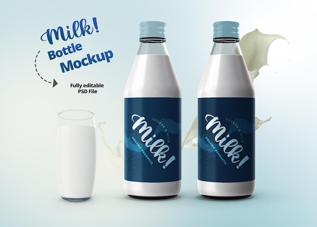Elegant realistic 3d mockup template milk bottles and glass