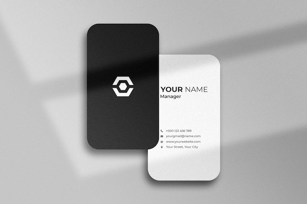 Elegant realistic business card mockup with shadow