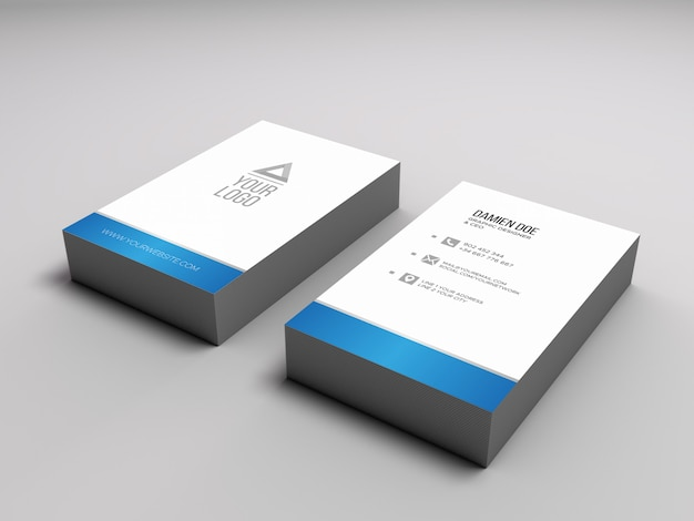 Elegant realistic business card pile mockup