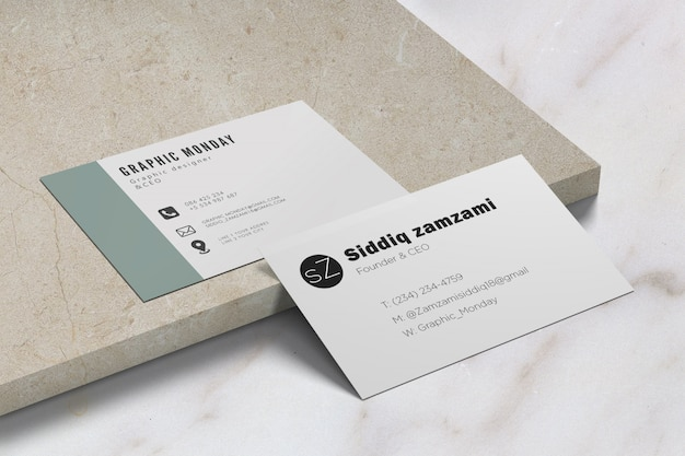 Elegant realistic ceramic background business card mockup free psd