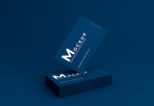 Elegant realistic dark blue business card mockup