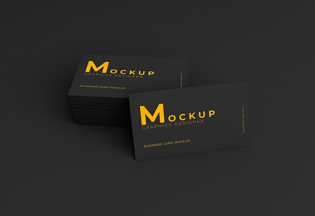 Elegant realistic dark business card mockup
