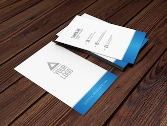 Elegant realistic wood background business card mockup