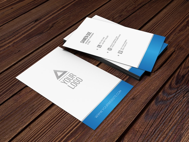 Elegant realistic wood background business card mockup