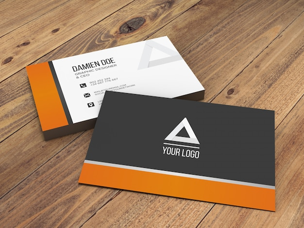Elegant realistic wooden background business card mockup