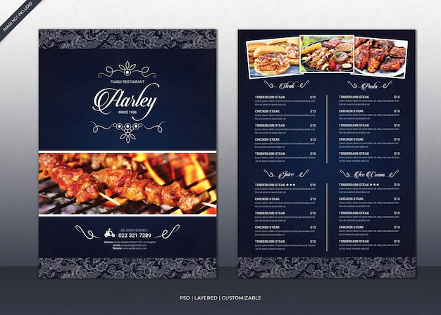 Elegant restaurant menu flyer