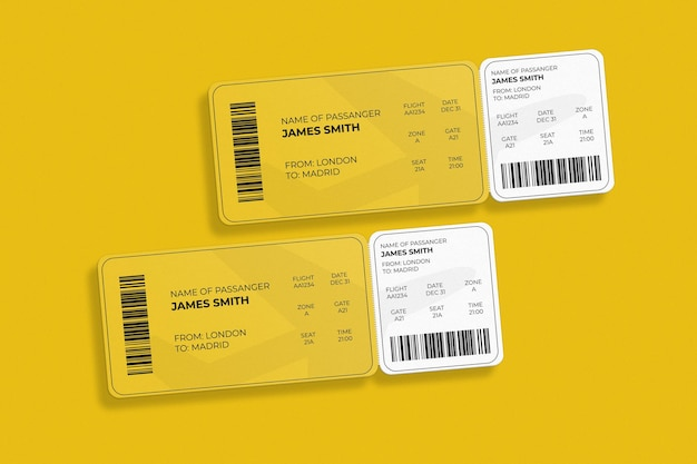 Elegant rounded corner boarding pass or airplane ticket mockup