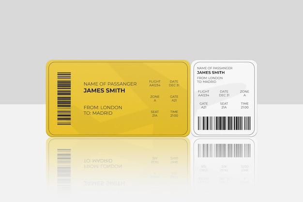 우아한 둥근 모서리 탑승권 또는 비행기 티켓 모형 디자인