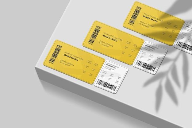 그림자 오버레이가있는 우아한 둥근 모서리 탑승권 또는 비행기 티켓 모형