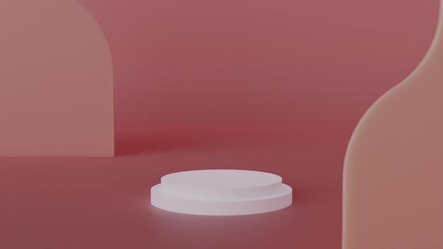 Элегантная сцена с подиумом и абстрактным фоном.