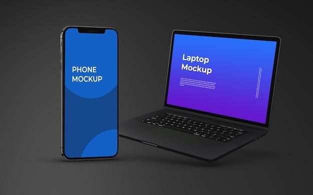 Elegant smartphone and laptop device mockup