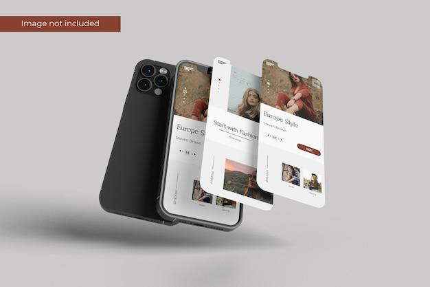 Elegant smartphone and screen mockup design in 3d rendering