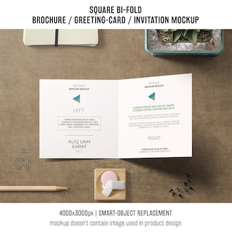 Elegant square bi-fold brochure or greeting card mockup