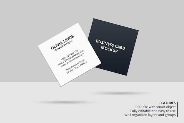 Элегантный квадратный дизайн макета визитки