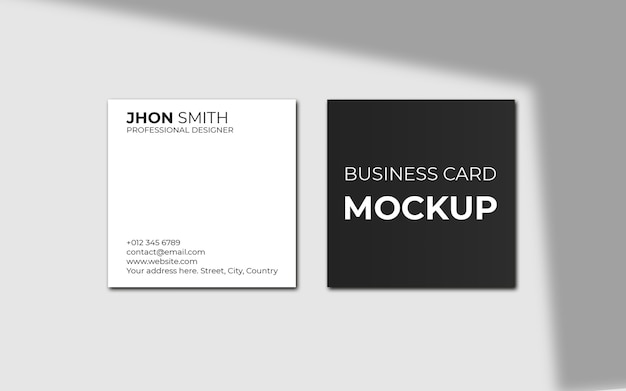 Элегантный квадратный макет визитки с тенью