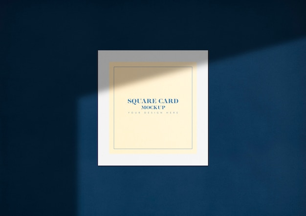 Elegant square card mockup with shadow