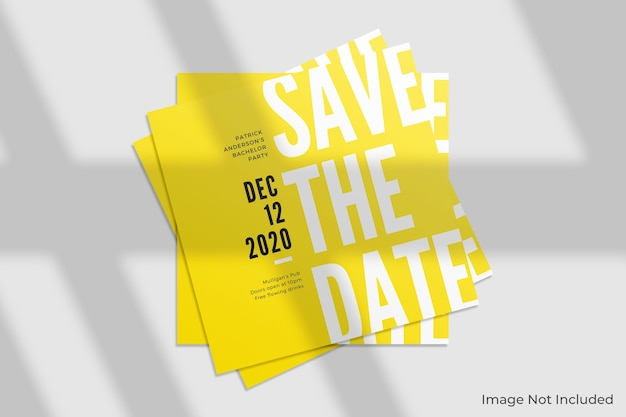 Elegant square invitation mockup with shadow