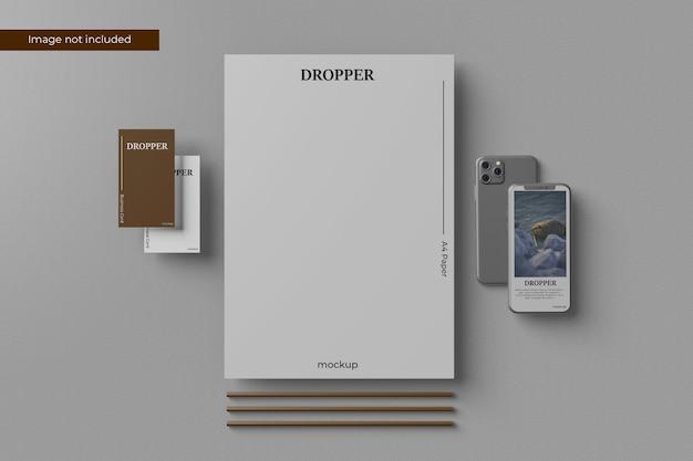 Elegant stationery mockup design in 3d rendering