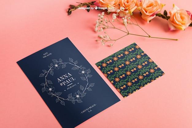 Elegant stationery wedding mockup with cards