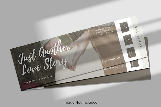 Elegant ticket mockup with shadow