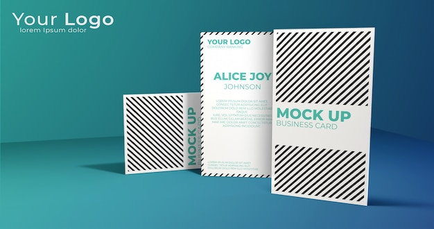 Elegant vertical business card mock up display