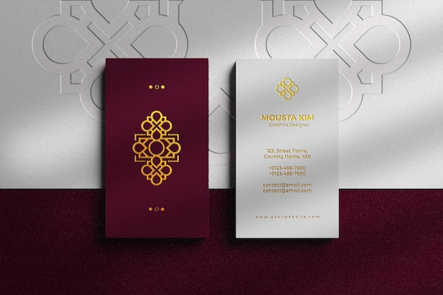Elegant vertical business card with embossed logo mockup
