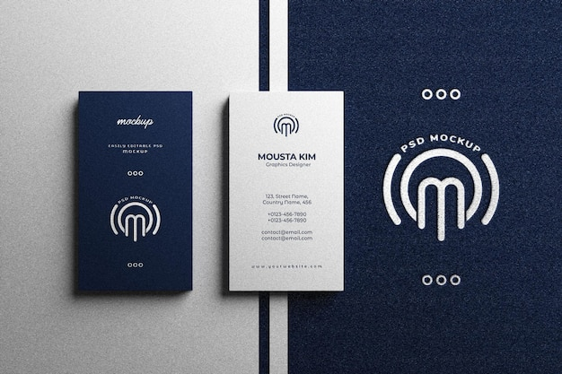 Elegant vertical business card with silver foil logo mockup