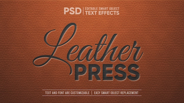 Elegant vintage leather with black embossed editable text effect