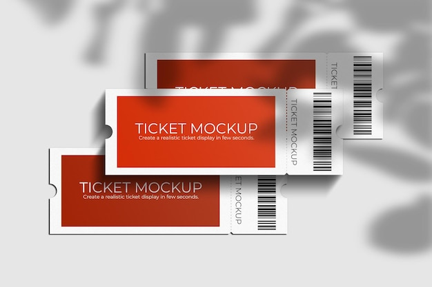 Elegant voucher or ticket mockup with shadow overlay