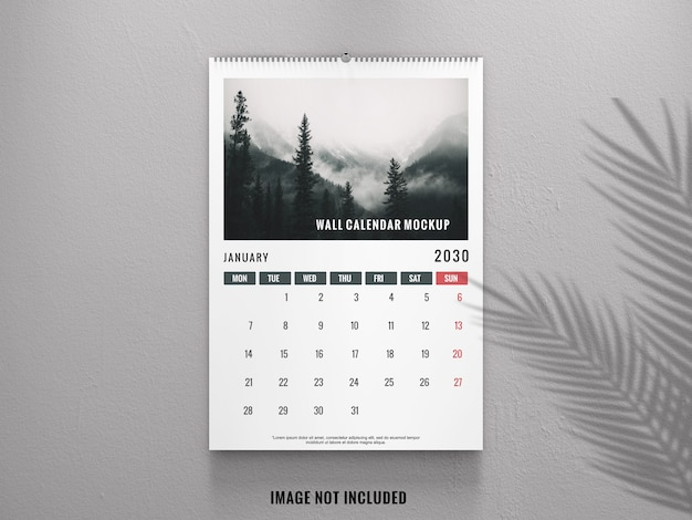 Elegant wall calendar from front view mockup