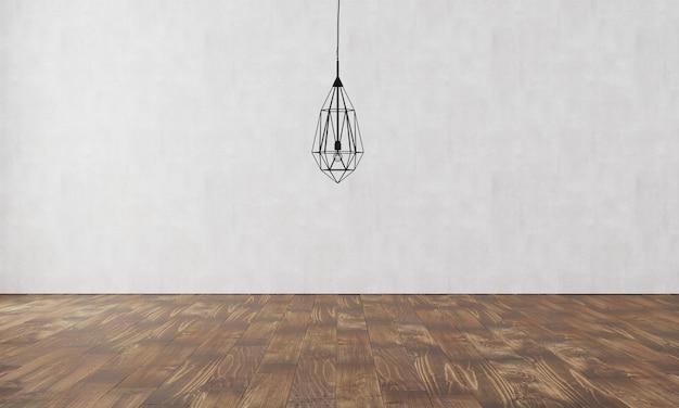 モダンなランプと寄木細工の床とエレガントな壁