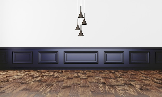 Elegant wall with modern lamp and parquet