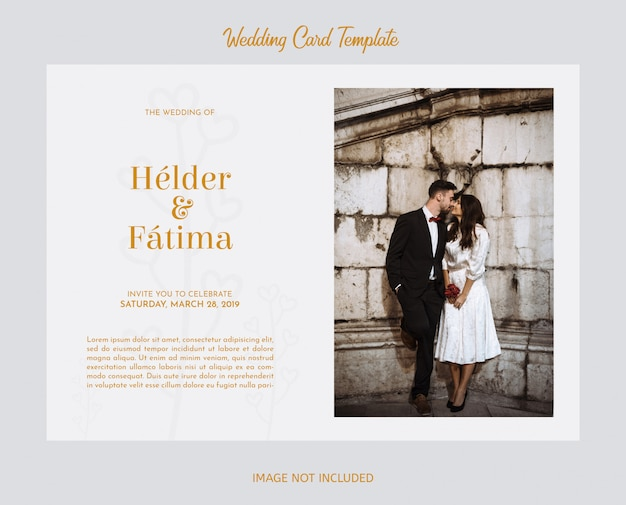 Elegant wedding card template with photography