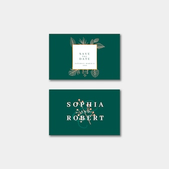 Elegant wedding invitation business card with nature concept
