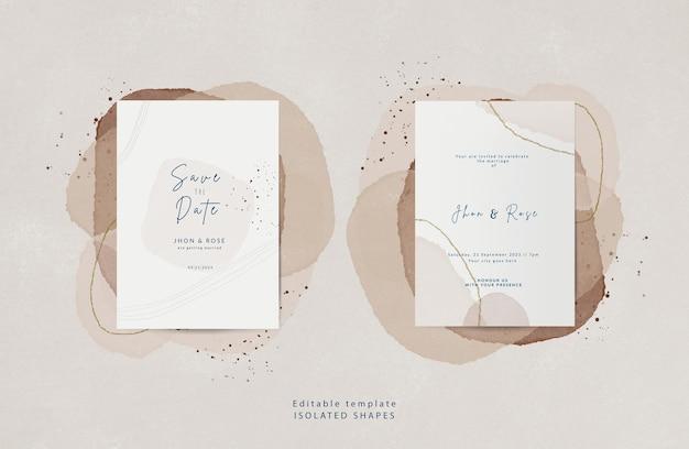 Modello di biglietto d'invito per matrimonio elegante