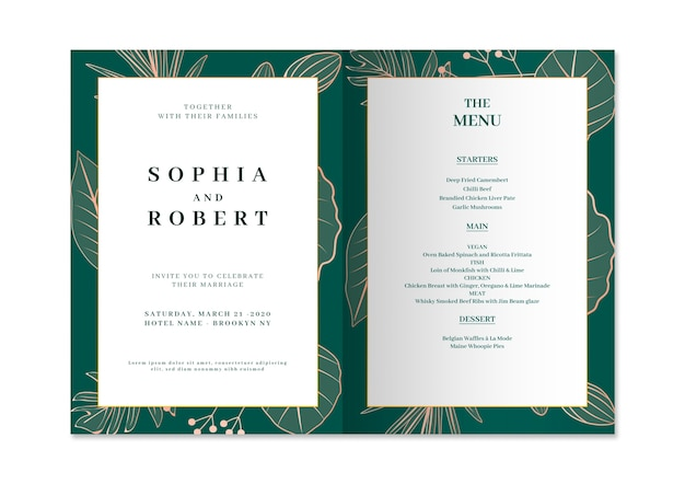 Elegant wedding invitation card with nature concept