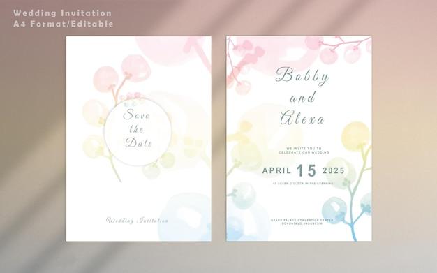 エレガントな結婚式の招待状の花のテンプレート