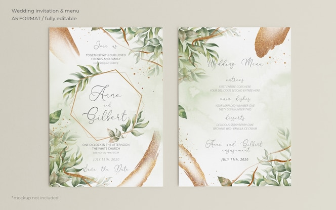 Elegant wedding invitation and menu template with leaves