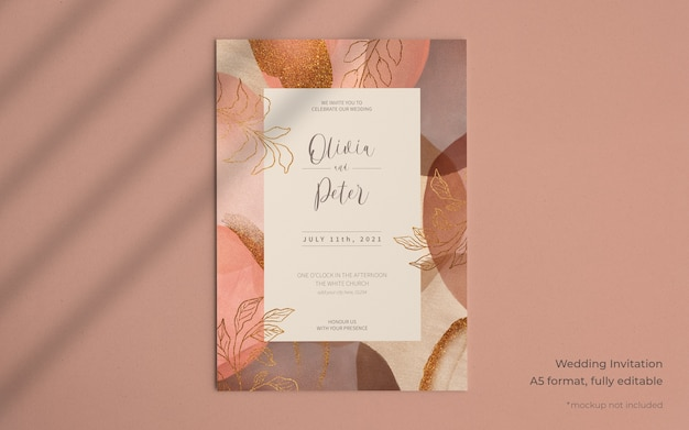 Elegant wedding invitation template with abstract paint shapes
