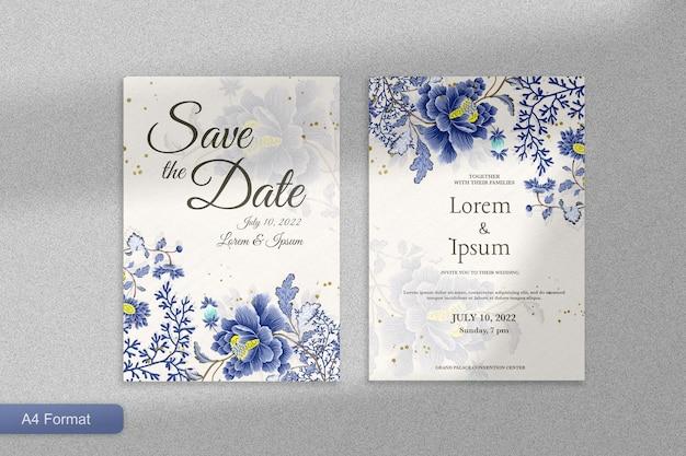 푸른 꽃과 우아한 청첩장 템플릿