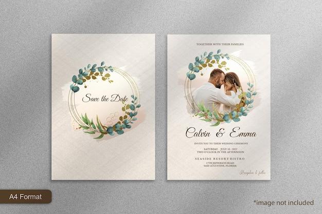 ユーカリとエレガントな結婚式の招待状のテンプレート
