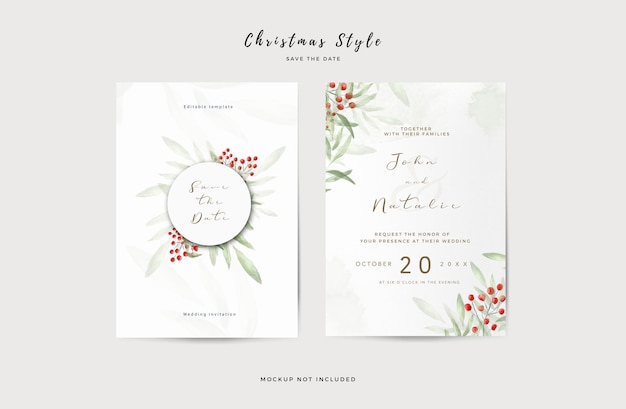 Elegant wedding invitation template with watercolor leaves